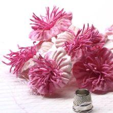 Vintage Pink Velvet Blossoms x6